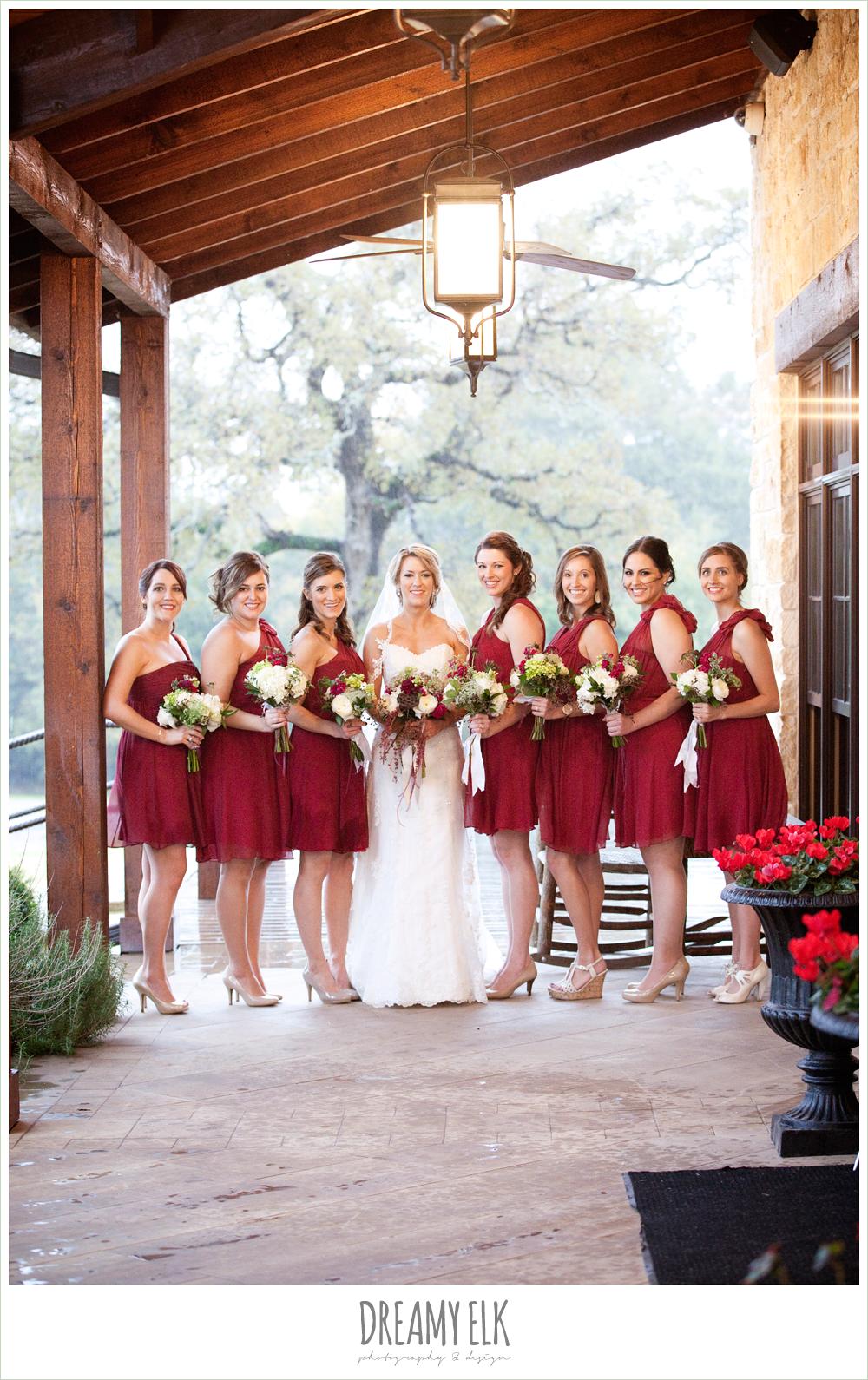 bride and bridesmaids, short cranberry bridesmaids dresses, rainy fall wedding, rock lake ranch, dreamy elk photography and design