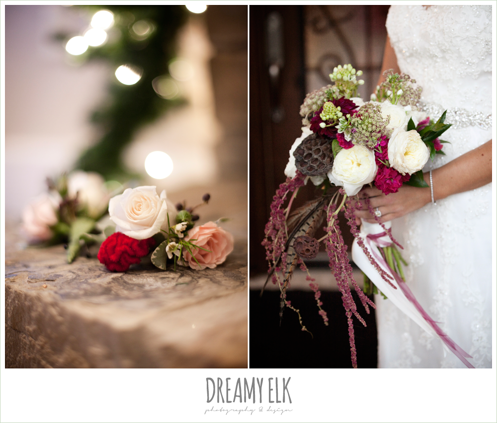 fall wedding bouquet, lotus pods, white ranunculus, burgundy dahlia, pheasant feathers, amaranthus, tricia barksdale, fall wedding, rock lake ranch, dreamy elk photography and design