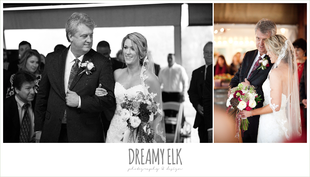 bride and dad walking down the aisle, rainy fall wedding, rock lake ranch, dreamy elk photography and design