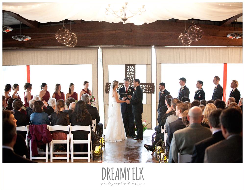 tent wedding ceremony, rainy fall wedding, rock lake ranch, dreamy elk photography and design