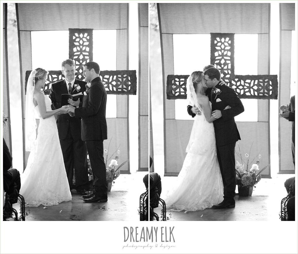 bride and groom kissing during ceremony, fall wedding, rock lake ranch, dreamy elk photography and design