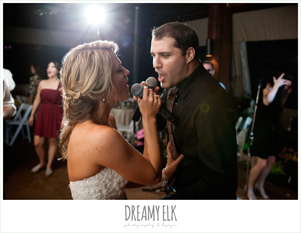 bride and groom singing to each other at reception, fall wedding, rock lake ranch, dreamy elk photography and design