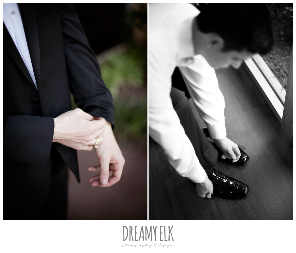 groom getting dressed, winter wedding, austin wedding photographer, dreamy elk photography and design