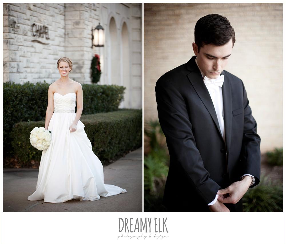 sweetheart strapless wedding dress, white wedding bouquet, classic tuxedo, winter wedding, austin wedding photographer, dreamy elk photography and design
