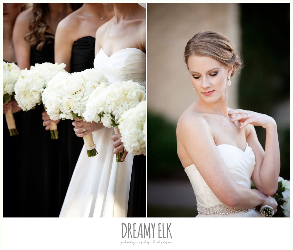 sweetheart strapless wedding dress, white wedding bouquet, black bridesmaids dresses, winter wedding, austin wedding photographer, dreamy elk photography and design
