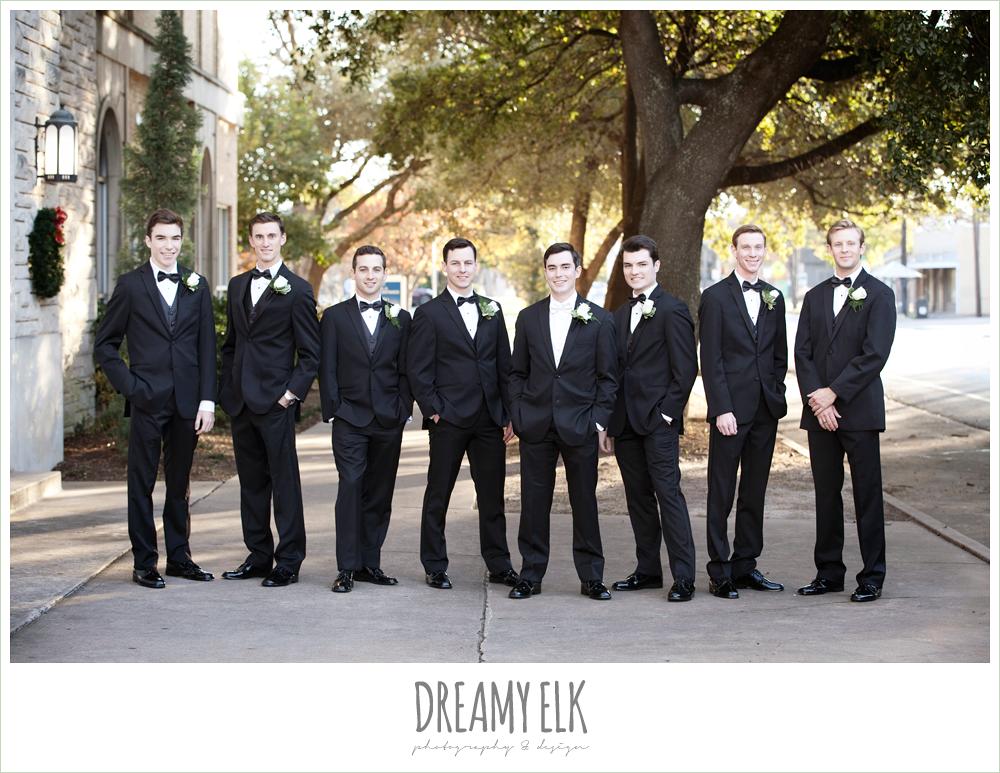 groom and groomsmen in classic tuxedos, winter wedding, austin wedding photographer, dreamy elk photography and design