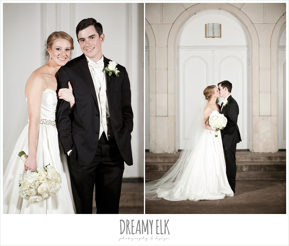 bride and groom, white wedding bouquet, cathedral length veil, winter wedding, austin wedding photographer, dreamy elk photography and design