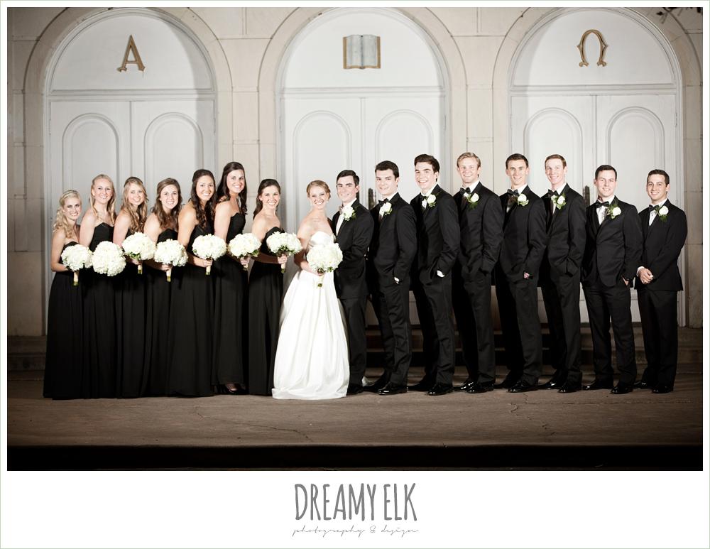 white wedding bouquet, floor length black bridesmaids dresses, tuxedos, winter wedding, austin wedding photographer, dreamy elk photography and design