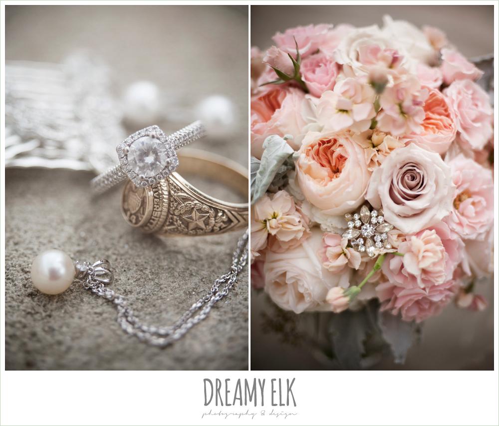 blush tones wedding bouquet, wedding jewelry, houston wedding {dreamy elk photography and design}