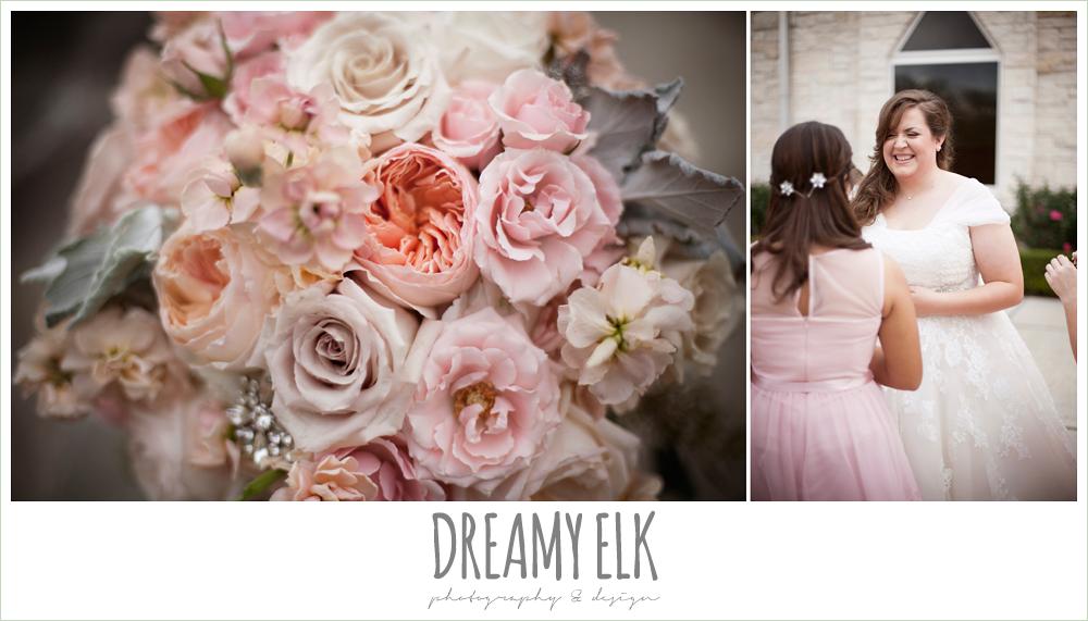 blush toned wedding bouquet, belle inspired wedding dress, houston winter wedding {dreamy elk photography and design}