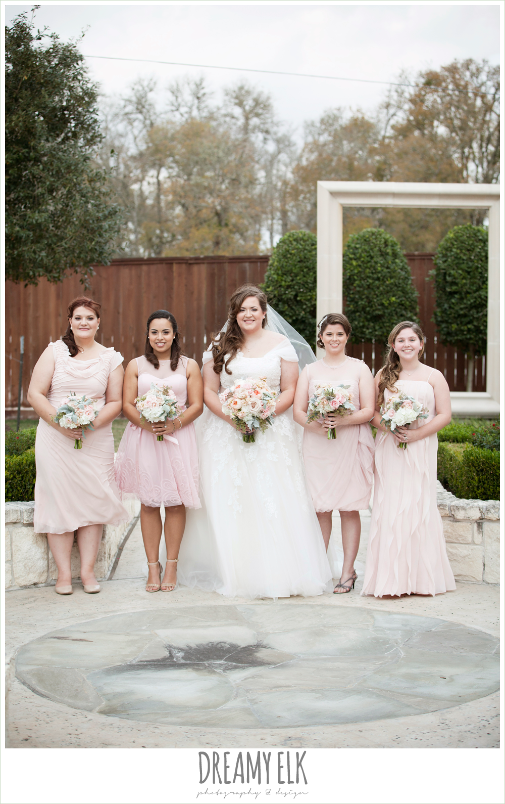 blush toned bridesmaids dresses, houston winter wedding {dreamy elk photography and design}