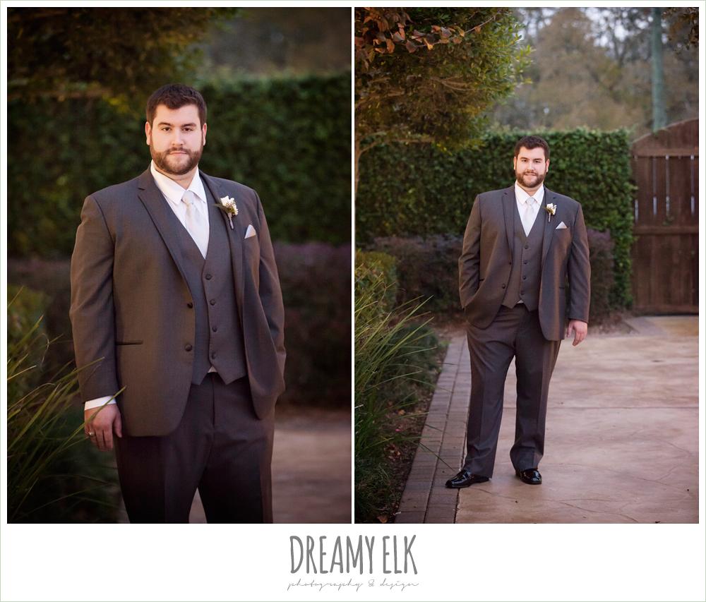 groom in gray three piece suit, houston winter wedding {dreamy elk photography and design}
