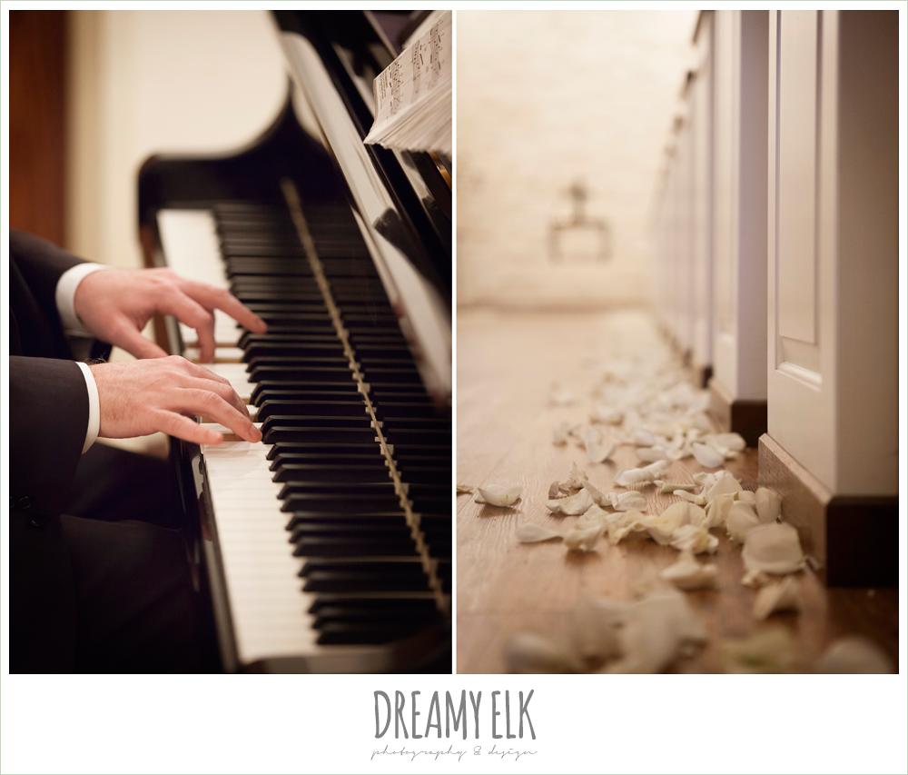 white rose petals lining ceremony aisle, briscoe manor, houston winter wedding {dreamy elk photography and design}