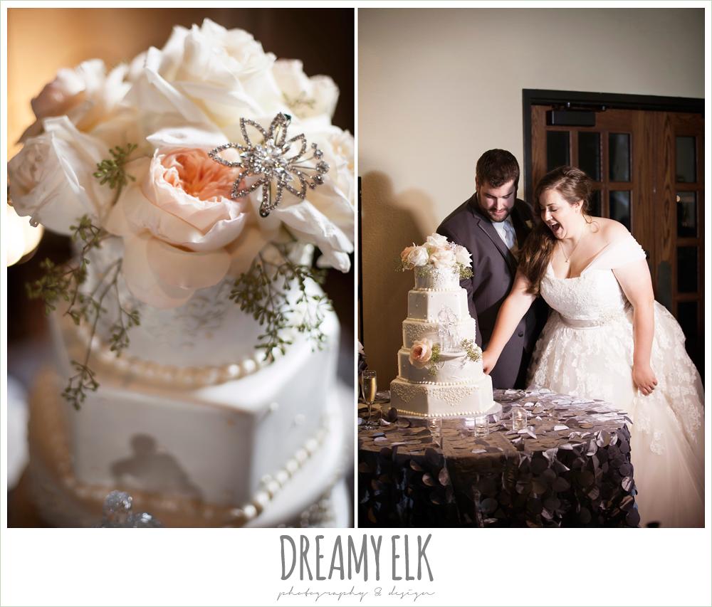 blush toned wedding cake, briscoe manor, houston winter wedding photo {dreamy elk photography and design}