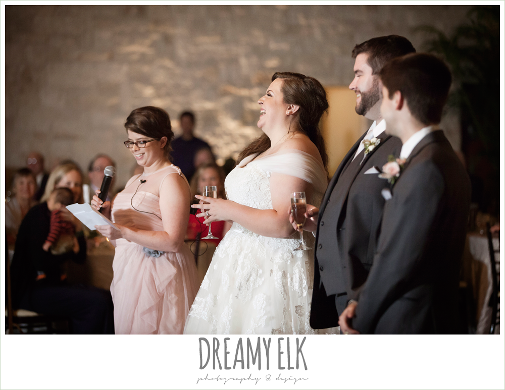 guests giving toasts at reception, briscoe manor, houston winter wedding photo {dreamy elk photography and design}