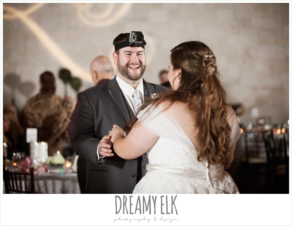 groom with go pro on his head at reception, briscoe manor, houston winter wedding photo {dreamy elk photography and design}