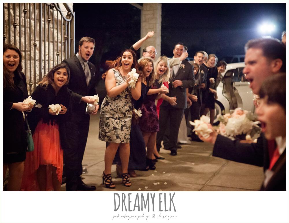 guests throwing rose petals, briscoe manor, houston winter wedding photo {dreamy elk photography and design}