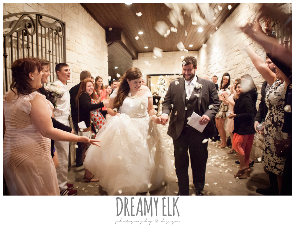 bride and groom send off with rose petals, briscoe manor, houston winter wedding photo {dreamy elk photography and design}