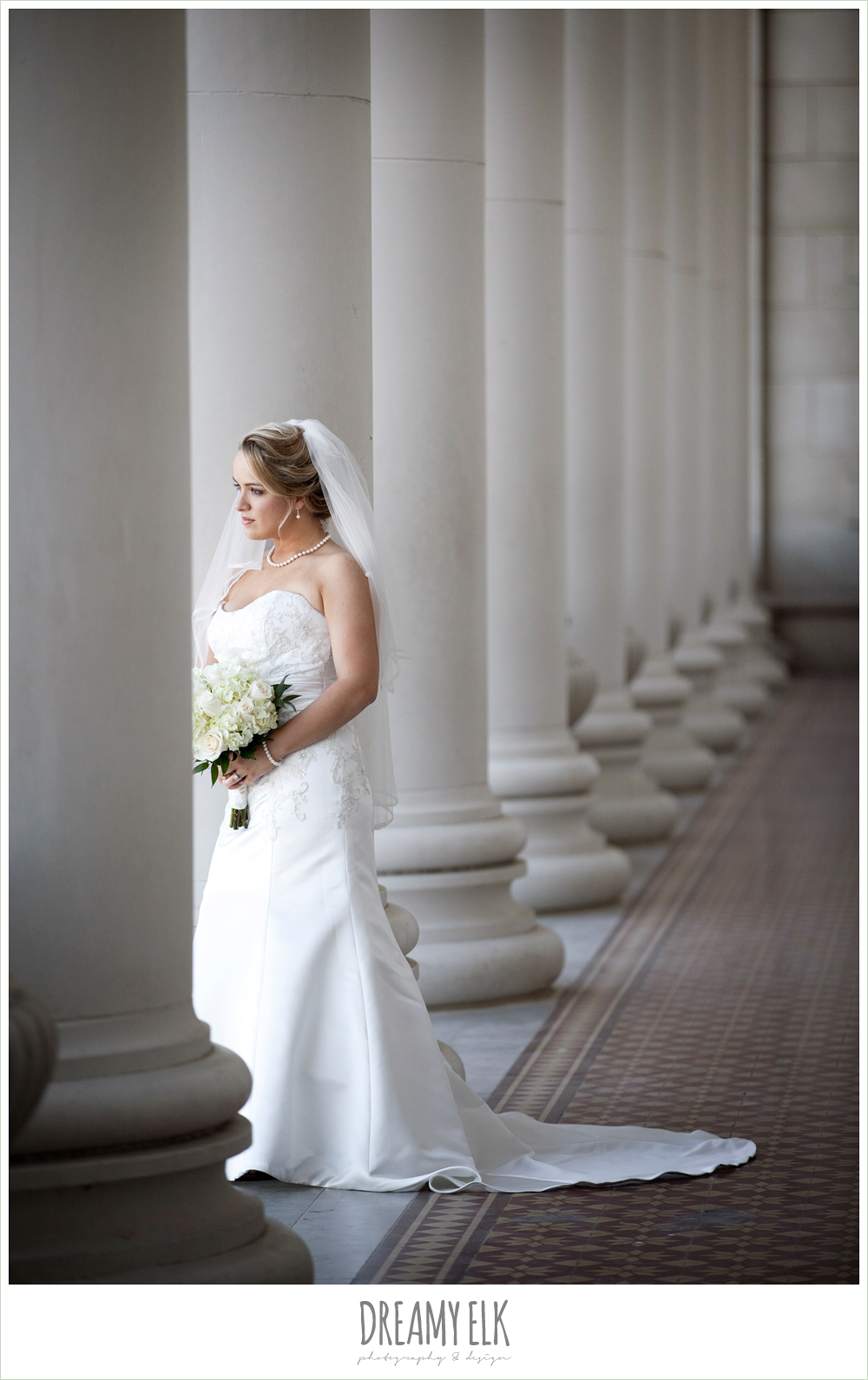 texas a&m campus, administrative building, trumpet satin wedding dress, white wedding bouquet {dreamy elk photography and design}