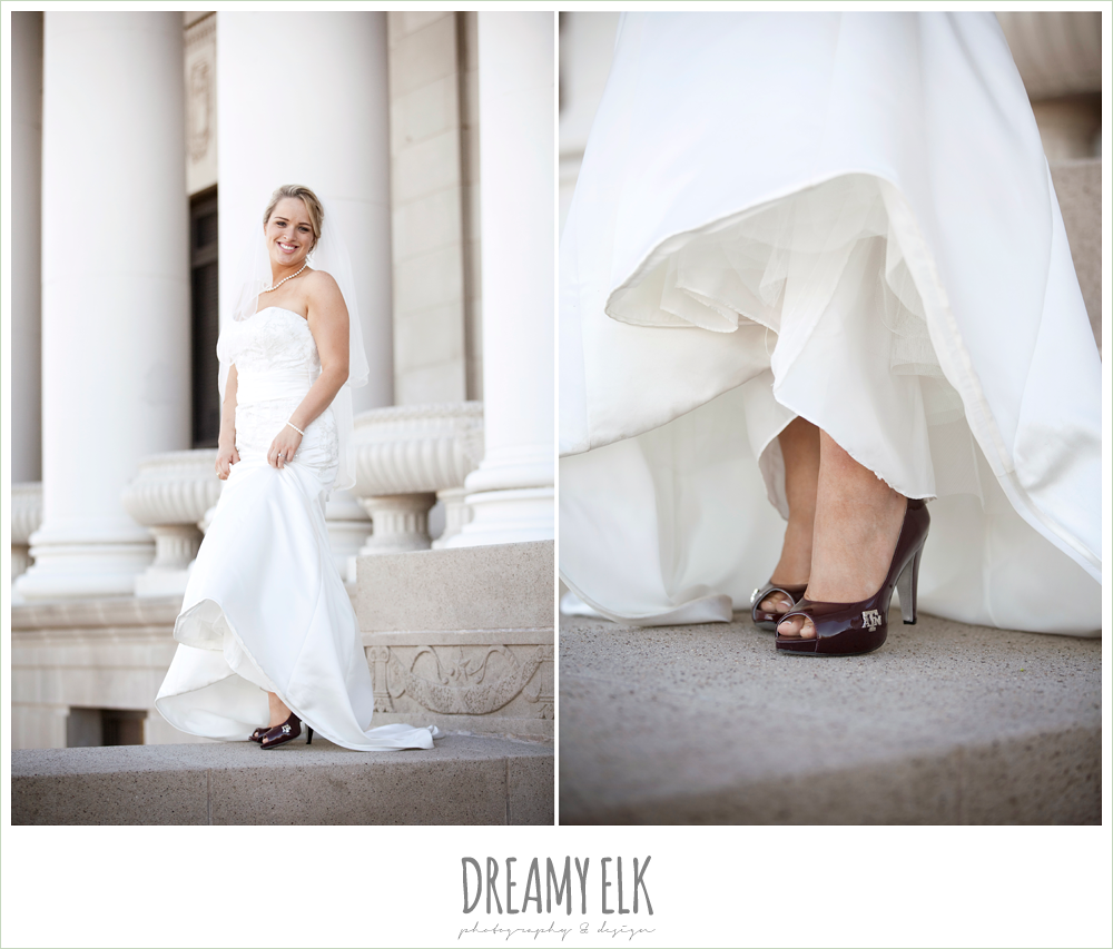 texas a&m heels, bridal photo, trumpet satin wedding dress, white wedding bouquet {dreamy elk photography and design}