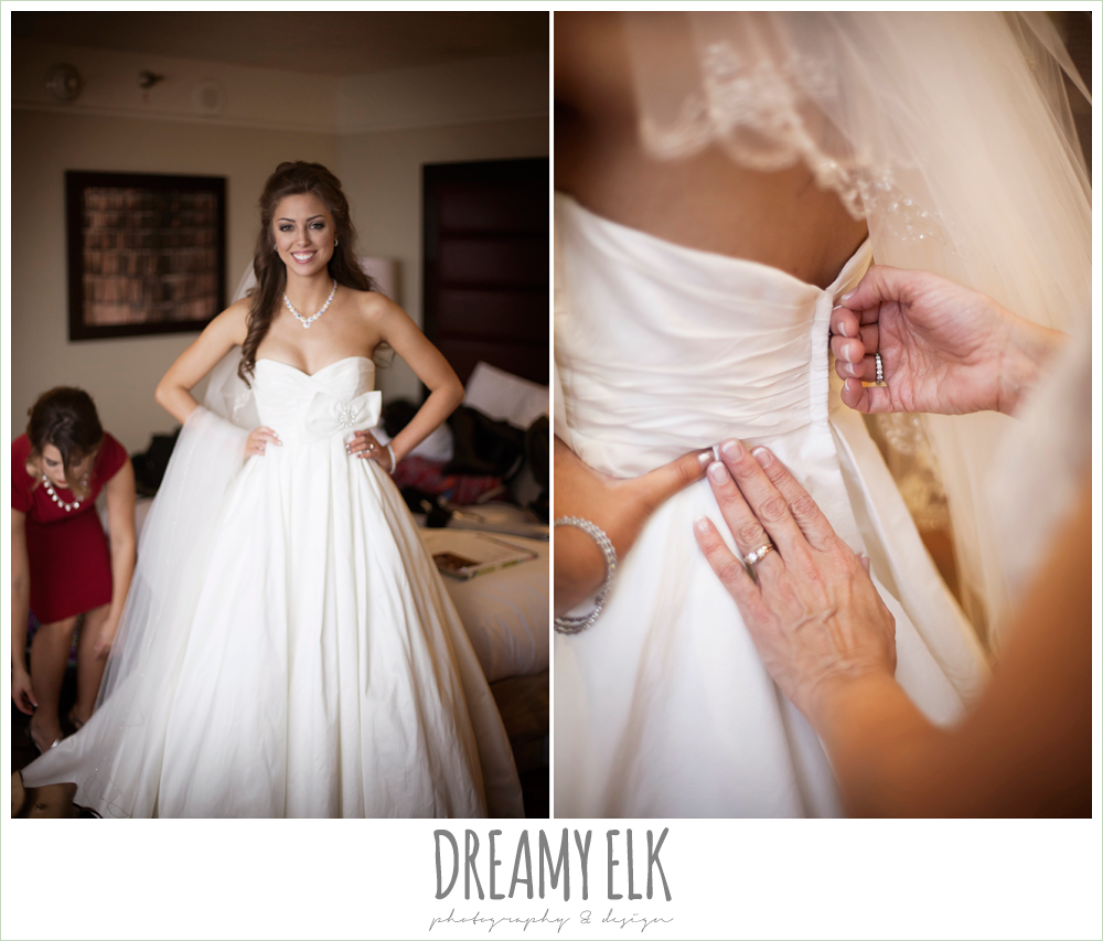 bride getting dressed, sweetheart strapless wedding dress, hilton hotel, christmas wedding {dreamy elk photography and design} photo