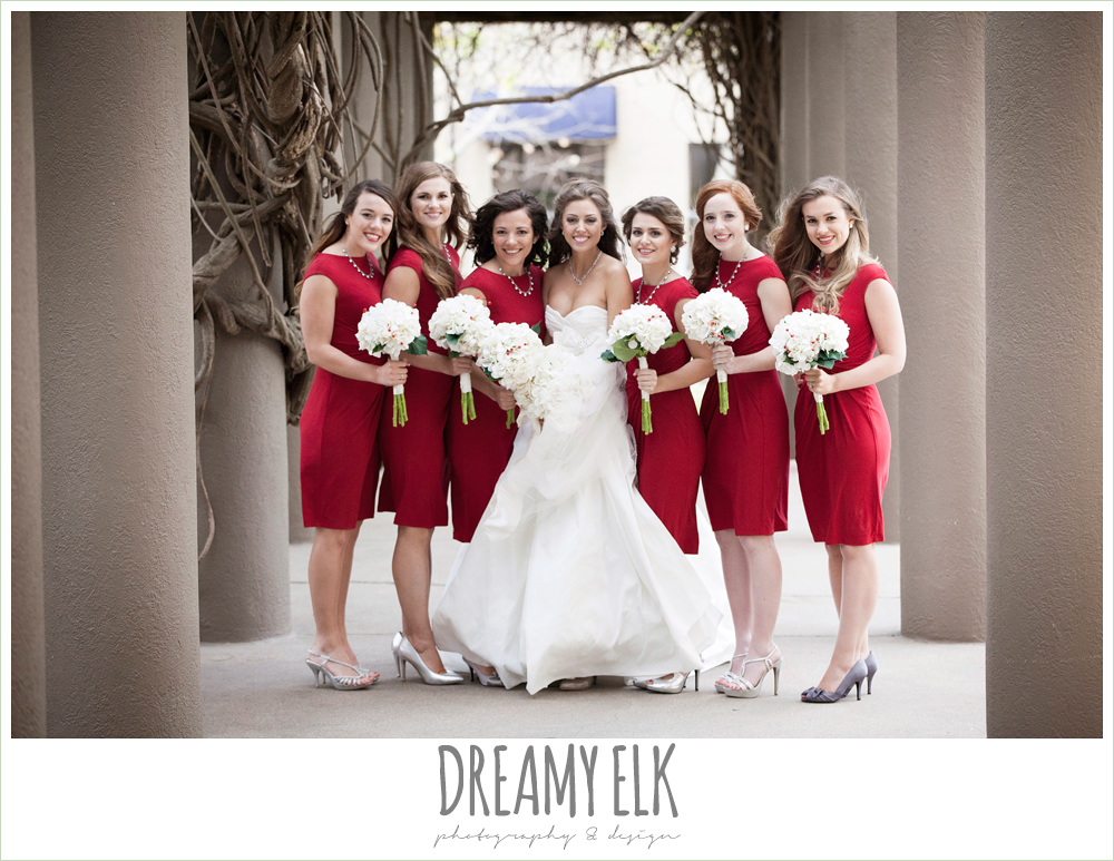 bride and bridesmaids, short red bridesmaids dresses, christmas wedding {dreamy elk photography and design} photo