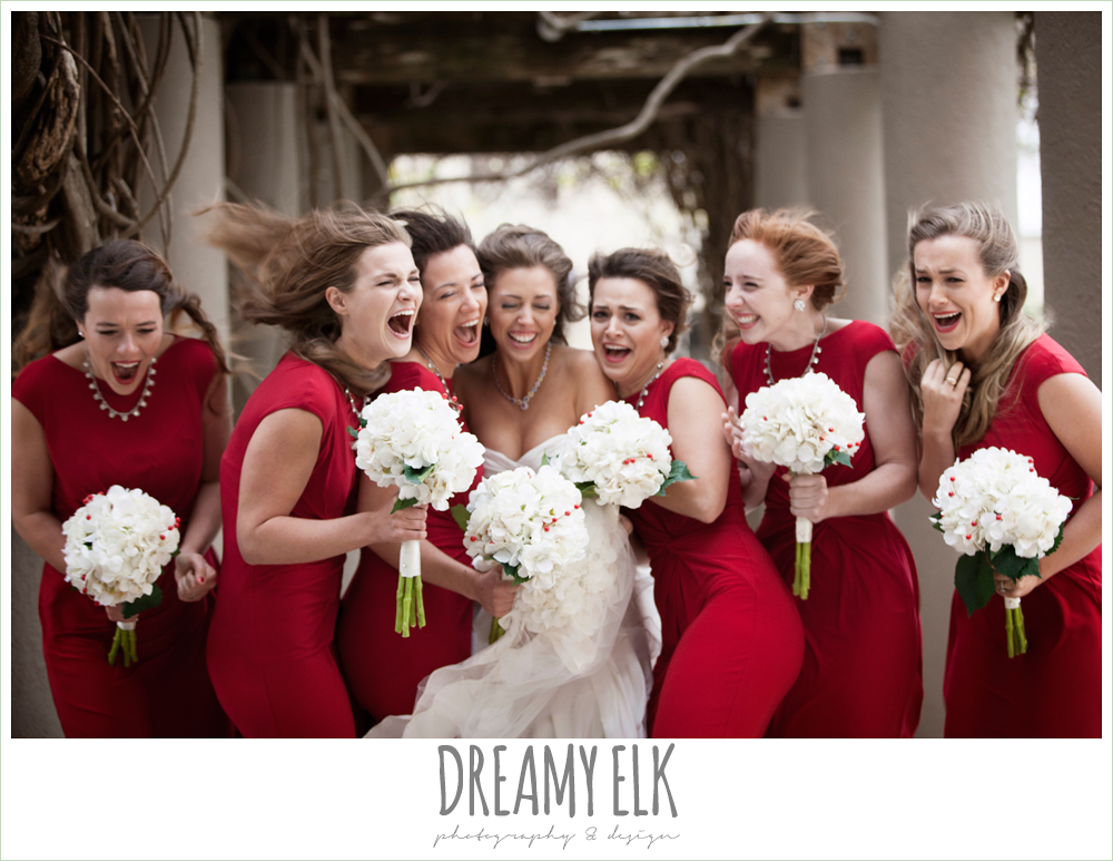 funny bridal party photo, red bridesmaids dresses, windy and cold christmas wedding {dreamy elk photography and design} photo