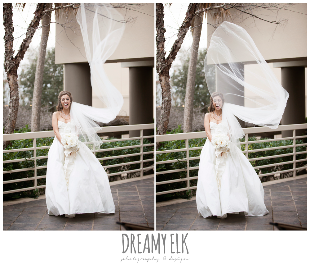 funny bridal photo, cathedral length veil, veil blowing in the wind, windy and cold christmas wedding {dreamy elk photography and design} photo