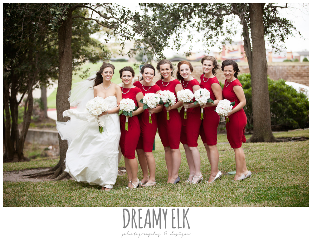 sweetheart strapless wedding dress, short red bridesmaids dresses, windy and cold christmas wedding {dreamy elk photography and design} photo