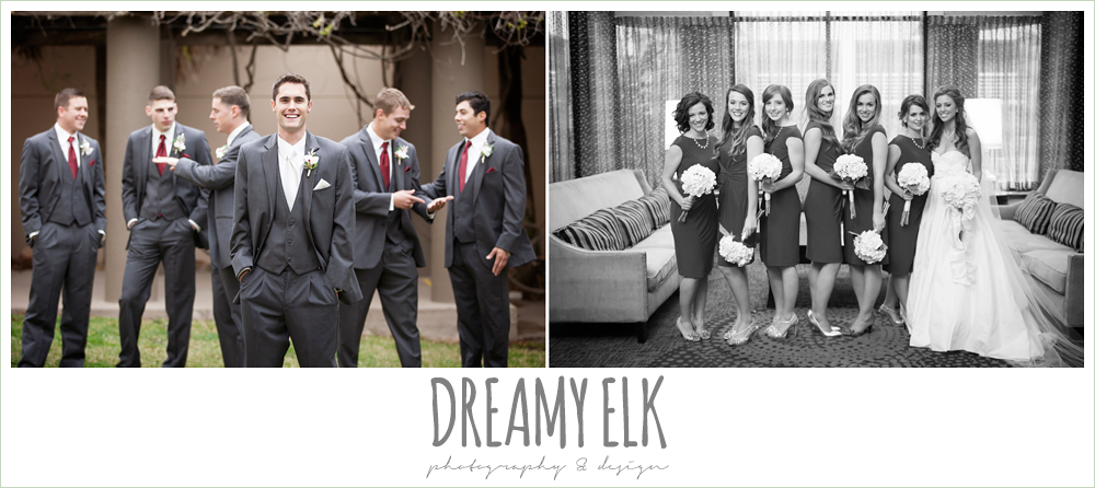 groomsmen in gray tuxes, short red bridesmaids dresses, christmas wedding {dreamy elk photography and design} photo