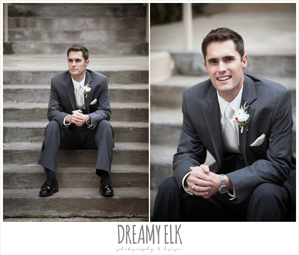 groom in gray tux, al's formal wear, christmas wedding {dreamy elk photography and design} photo