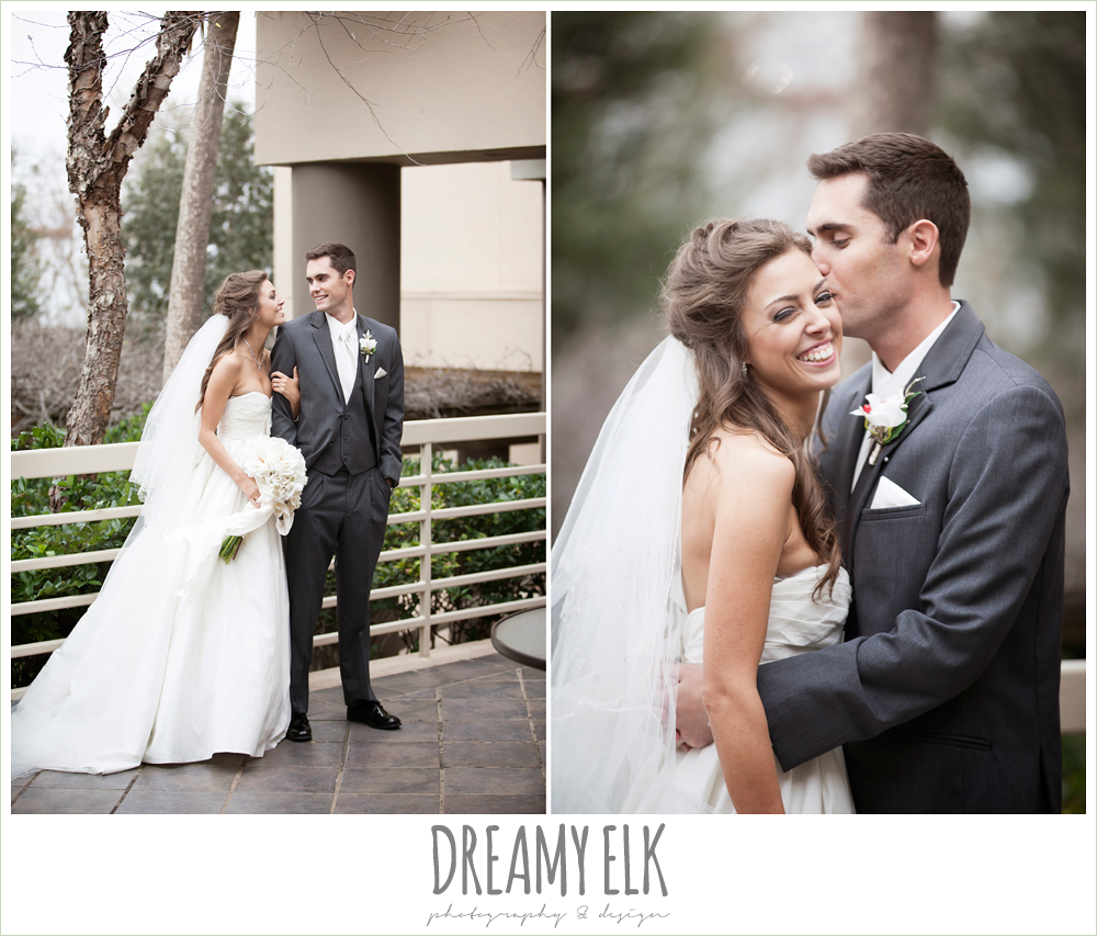 bride and groom, sweetheart strapless wedding dress, gray tux, christmas wedding {dreamy elk photography and design} photo