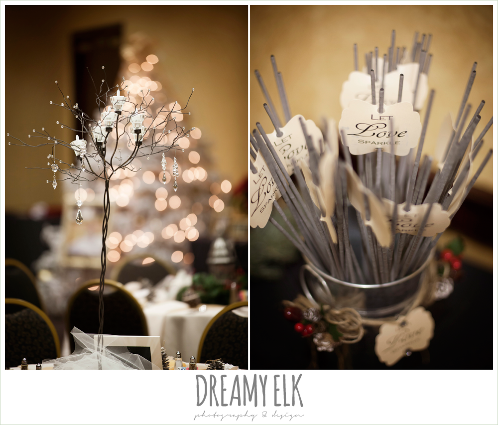 christmas wedding reception decorations {dreamy elk photography and design} photo
