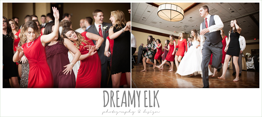 guests dancing at reception, christmas wedding {dreamy elk photography and design} photo
