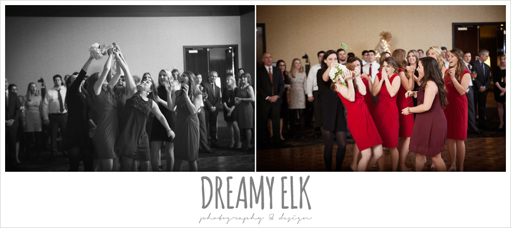 bouquet toss, christmas wedding {dreamy elk photography and design} photo