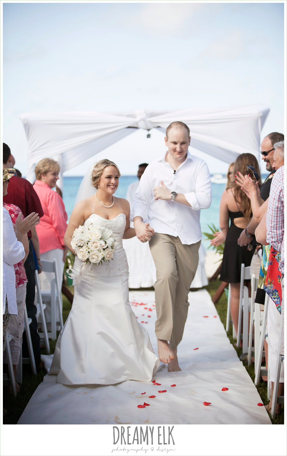 fit and flare wedding dress, groom in white shirt and khakis, outdoor destination wedding, cozumel {dreamy elk photography and design} photo