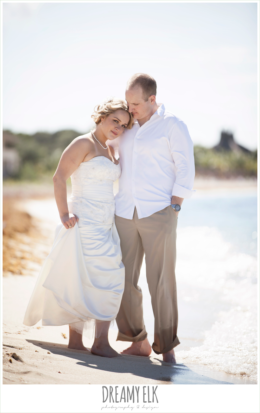 bride and groom walking on the beach, destination wedding, cozumel {dreamy elk photography and design} photo