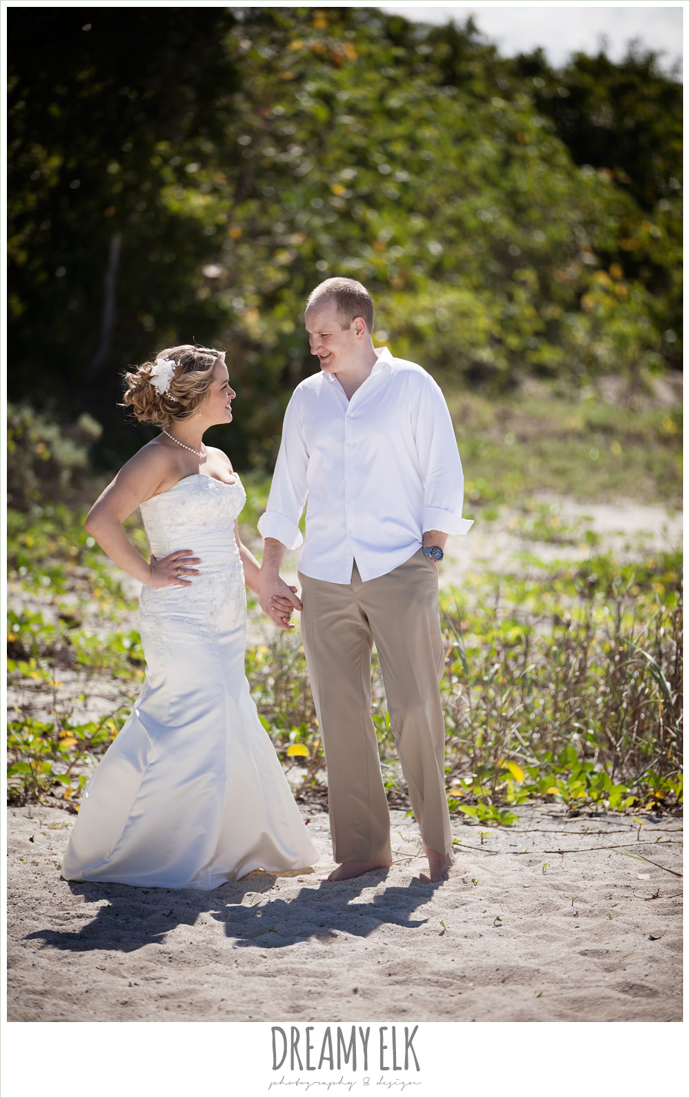 bride and groom on the beach, beach wedding hair, fit and flare wedding dress, groom in white shirt and khaki pants, destination wedding, cozumel {dreamy elk photography and design} photo