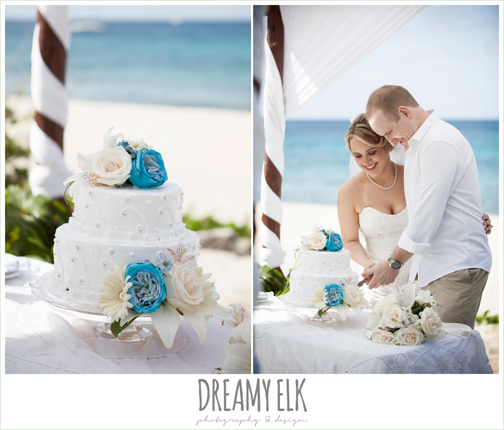wedding cake with white and blue flowers, destination wedding, cozumel {dreamy elk photography and design} photo
