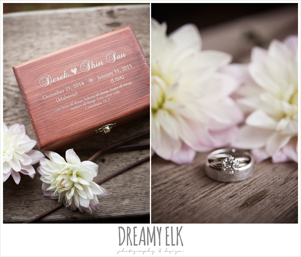 solitaire engagement ring, wedding rings, custom ring box {dreamy elk photography and design}
