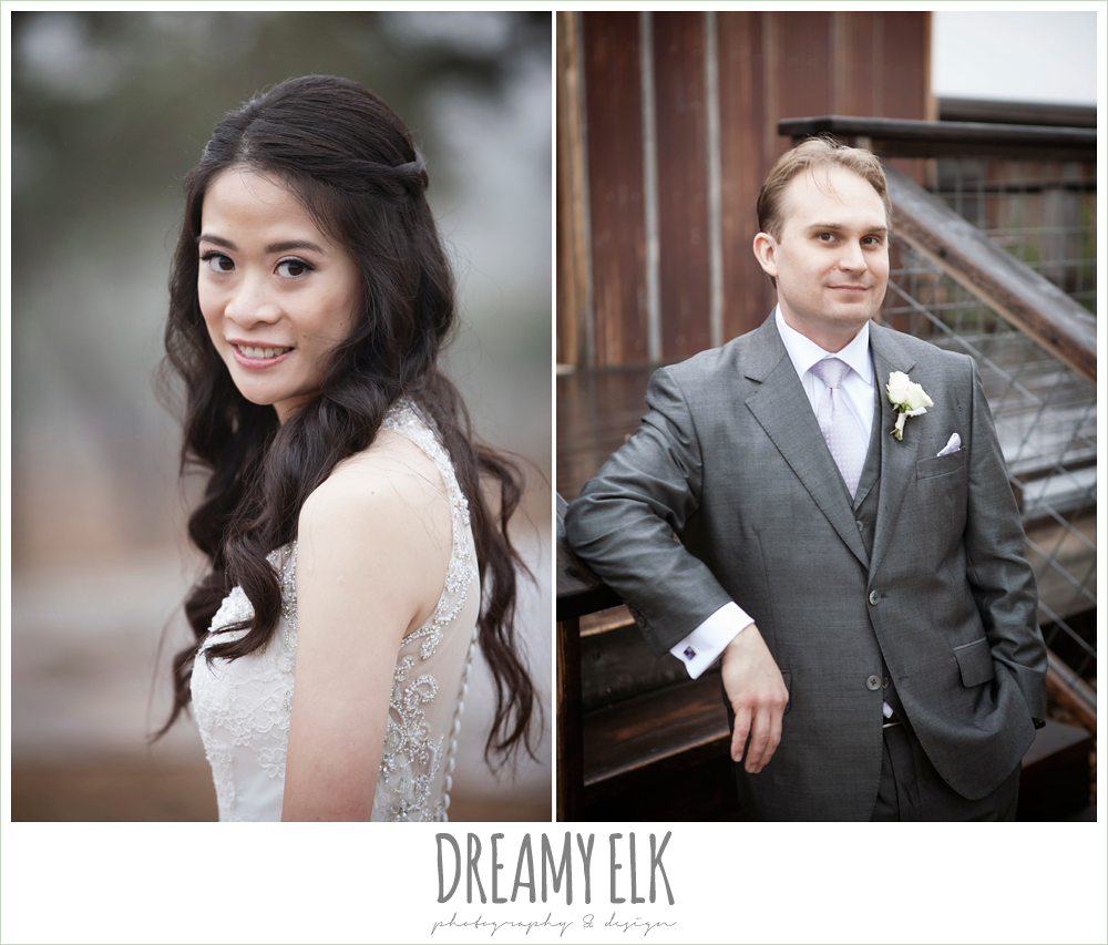 high necked wedding dress, wedding hair down, groom in gray suit, foggy wedding day {dreamy elk photography and design}