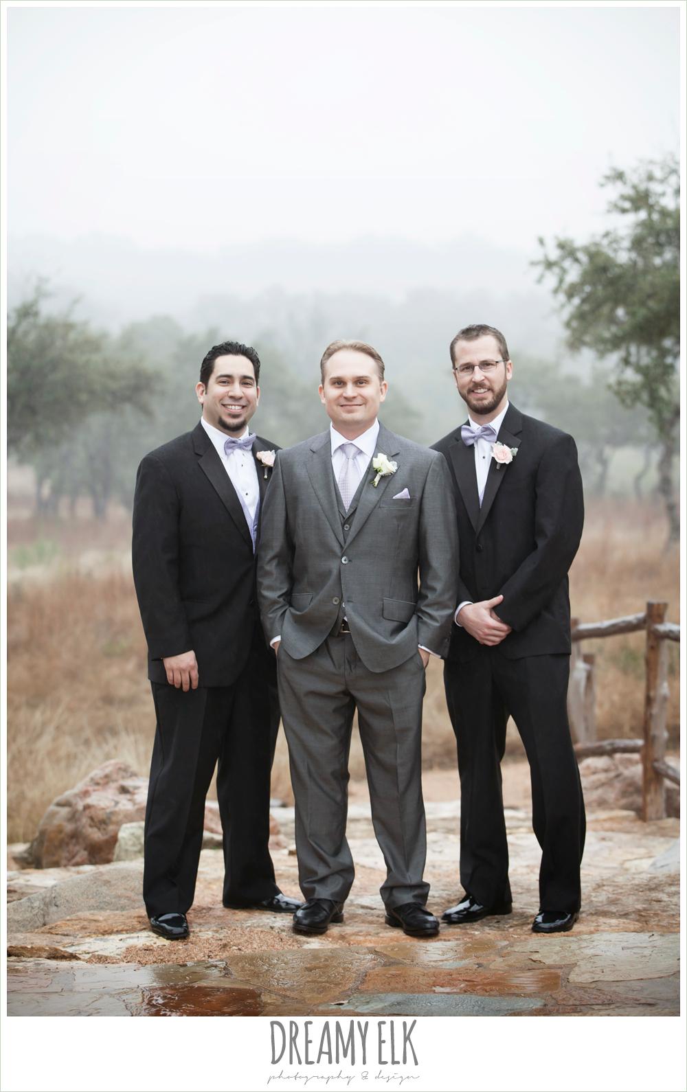 groom in gray, groomsmen in black, foggy wedding day {dreamy elk photography and design}