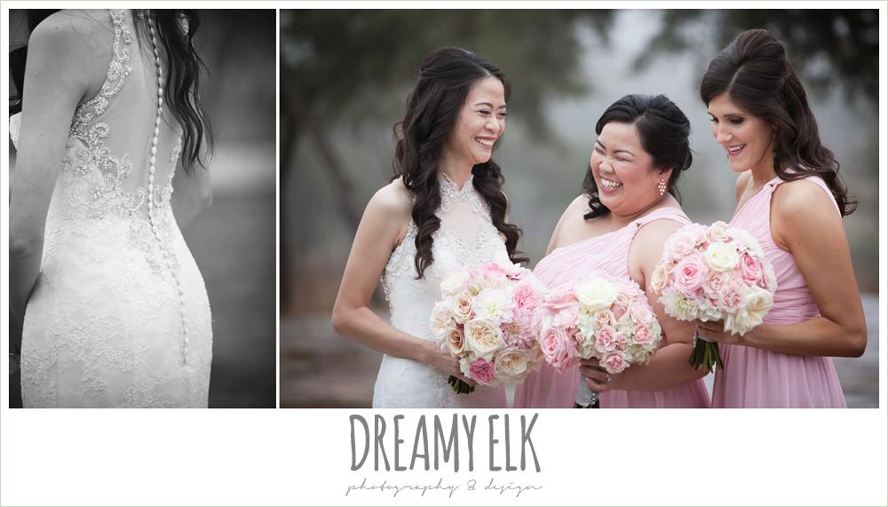high necked illusion back wedding dress, blush pink bridesmaids dresses, foggy wedding day {dreamy elk photography and design}