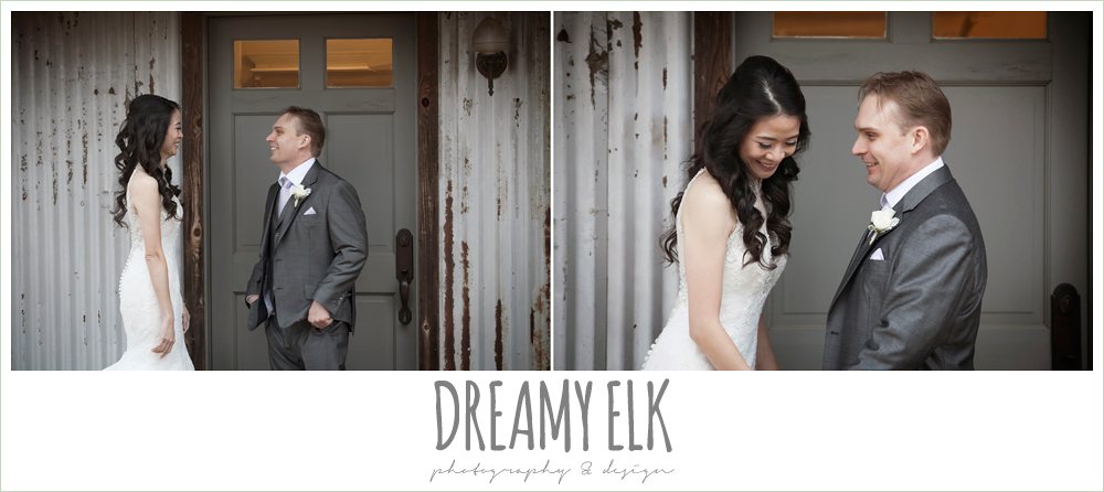 bride and groom first look, foggy wedding day {dreamy elk photography and design}