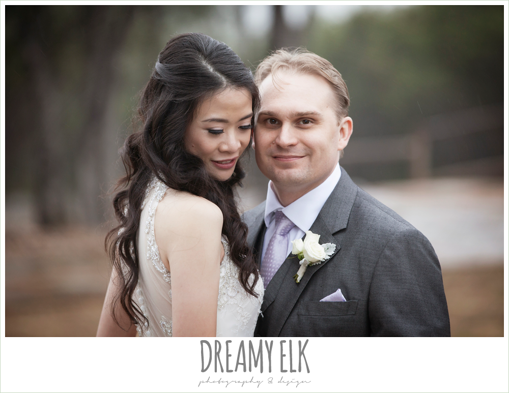 high necked trumpet wedding dress, groom in gray suit and light purple tie, foggy wedding day {dreamy elk photography and design}