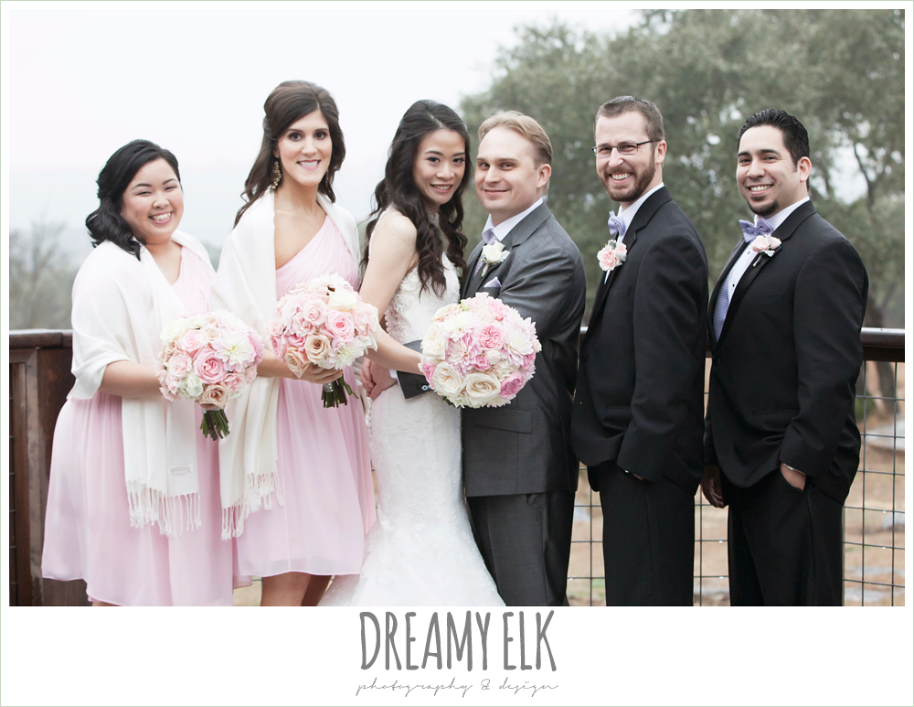 bridesmaids with shawls, blush pink and purple bridal party, high necked trumpet wedding dress, groom in gray suit, foggy wedding day {dreamy elk photography and design}