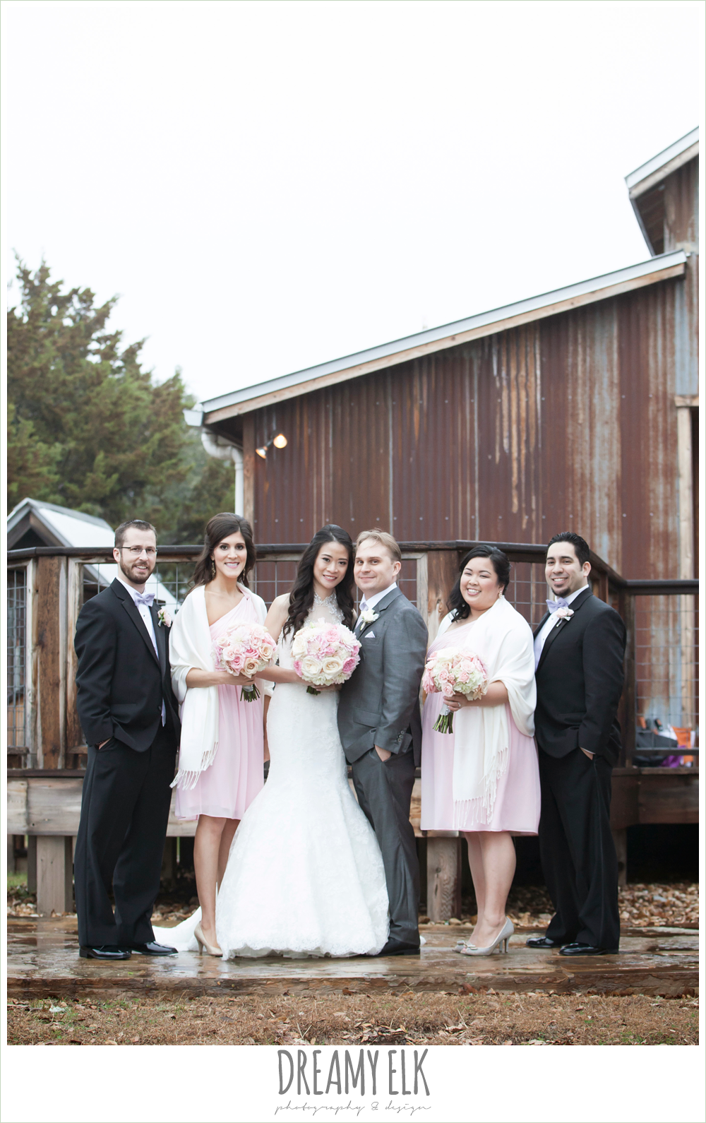 bridesmaids with shawls, high necked trumpet wedding dress, groom in gray suit, foggy wedding day {dreamy elk photography and design}
