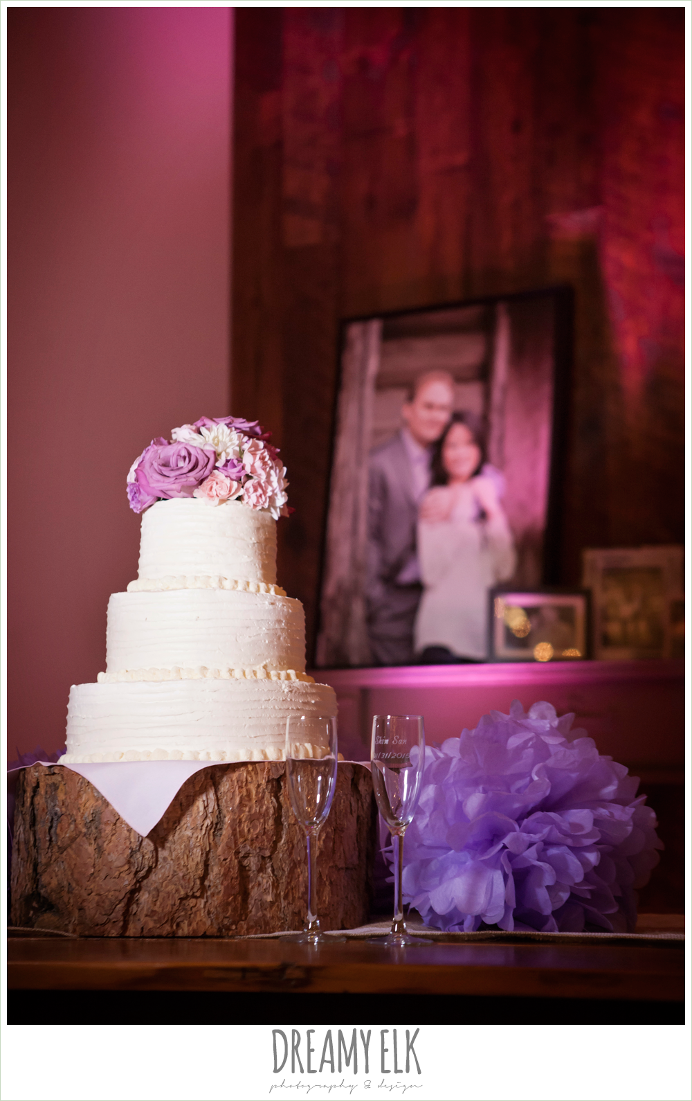 white round tier wedding cake, blush pink and purple flower cake topper, rustic chic wedding {dreamy elk photography and design}