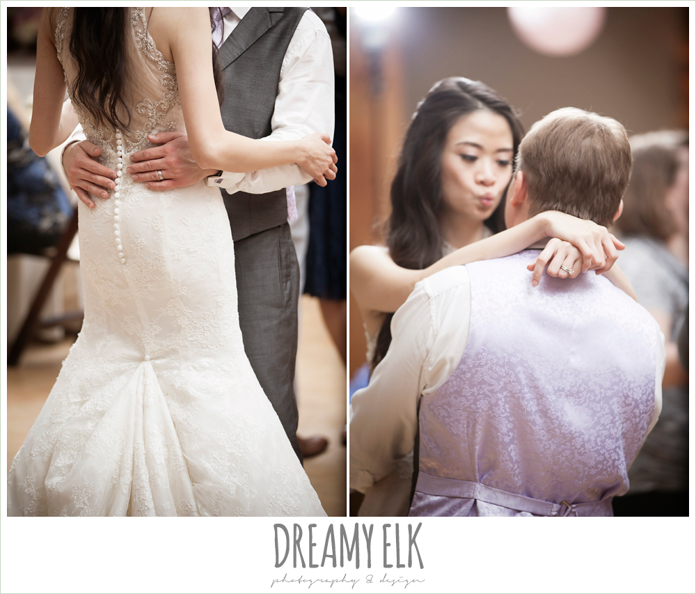 illusion back wedding dress, bride and groom dancing, rustic chic wedding {dreamy elk photography and design}