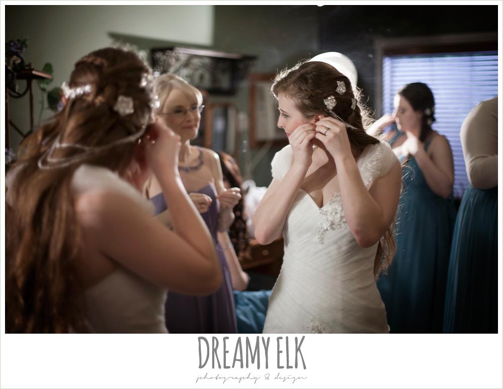 bride getting dressed, unique wedding hair down, off the shoulder wedding dress, le jardin winter wedding {dreamy elk photography and design}